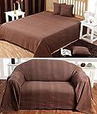 Homescapes jetã © de cama y jetã © de canapã © 'Rajputde color chocolate de 230x 260cm en algodón puro