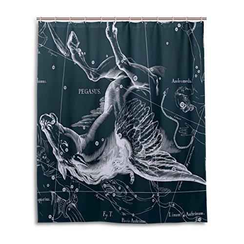 Tenda da doccia 152,4x 182,9cm, Fantasy grafico costellazione Pegasus, a prova di muffa poliestere tessuto bagno tenda
