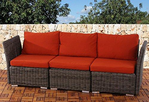 Sistema modulare Siena giardino polyrattan divano 3 posti ~ naturale-arancio