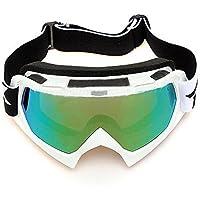 Gafas de esqui - SODIAL(R)Gafas de esqui de motocicleta resistente a polvos ATV fuera de la carretera de motocross de un solo lente de color blanco