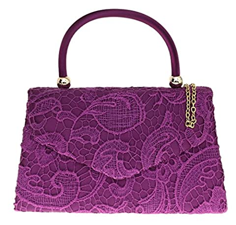 Girly HandBags Lace Satin Top Handle Clutch Bag Handbag Elegant Weeding Party Vintage Party Designer Inspired Womens Fashion -- Purple