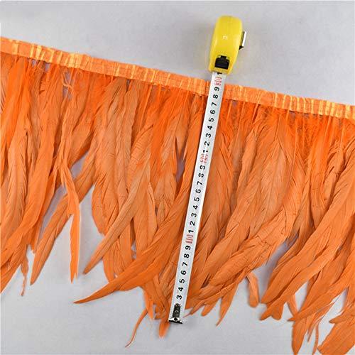Handwerk Schmuck Kostüm - SHFives 1 Meter hahn Schwanz schneidet Coque Feder trimmen/Band 25-30 cm Federn für Handwerk Kleid kostüme schmuck hochzeitsdekoration, orange