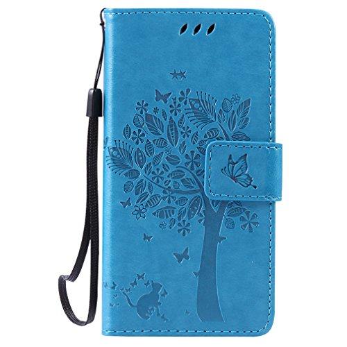 LMAZWUFULM Hülle für Huawei LUA-L21 /Y3 II 4,5 Zoll PU Leder Magnetverschluss Brieftasche Lederhülle Baum und Katzen Muster Standfunktion Schutzhülle Ledertasche Flip Cover Blau