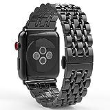 MoKo Armband Kompatibel mit Apple Watch 42 mm Series 3/2 / 1, [Sieben Longines] Edelstahl Wrist Band Uhrband Uhrenarmband Erstatzband für Apple Watch 42mm 2017, Space Grau