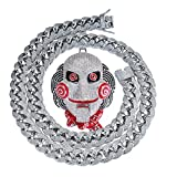 MoCa Jewelry Hip Hop Iced out Bling 6ix9ine - Cadena de Payaso (69 medallones Tekashi69, bañado en Oro Blanco, diseño de Sierra, Inspirado en Billy