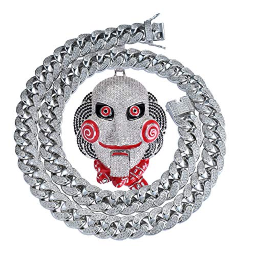 38060b517 MoCa Jewelry Hip Hop Iced out Bling 6ix9ine - Cadena de Payaso (69  medallones Tekashi69