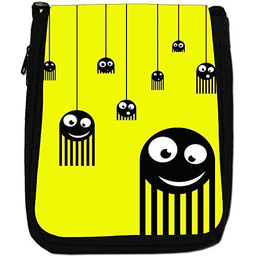 Monster Spiders-Borsa a tracolla in tela, colore: nero, taglia: M Nero (Yellow Monster Spiders)