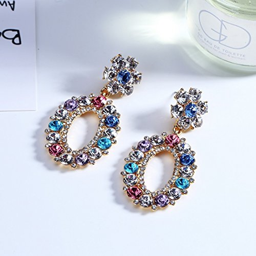 Jewels Galaxy Crystal Elements Limited Edition Sparkling Colors Floral Design Tantalizing Pair Of Droplets For Women/Girls