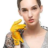 Nappaglo Damen Italienisches Lammfell Leder Handschuhe Touchscreen Winter Warm Langes Fleecefutter Handschuhe (L (Umfang der Handfläche:19.0-20.3cm), Gelb(Non-Touchscreen))