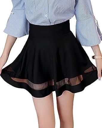 e8ea8b7fa7a8 Femme Fille Basique Mini Courte Jupe Évasée Taille Haute Plissée Patineuse  Elastique Jupe