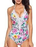 Angerella Damen Retro Tiefem V-Ausschnitt Einfarbig Spitze High Cut Slim Badeanzug Einteiler Monokini