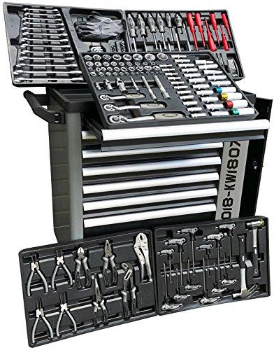 XXL Special Edition Werkstattwagen Werkzeugwagen grau - 5 von 7 Schubladen gefüllt mit Werkzeug - rollbar