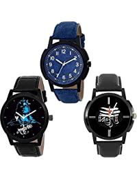 The Shopoholic Combo Latest Fashionable Blue And Black Apple Dial Analog Watch For Mens Stylish-Combo Watch Low...