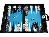 Wycliffe Brothers Backgammon-Turnierset – Schwarzes Kroko mit blauer Spielfläche – Gen III