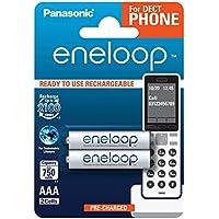 Panasonic eneloop, Ready-to-Use Ni-MH Akku, AAA Micro, 2er Pack, min. 750 mAh, 2100 Ladezyklen, geringe Selbstentladung, für Schnurlostelefone (DECT), wiederaufladbare Akku Batterie