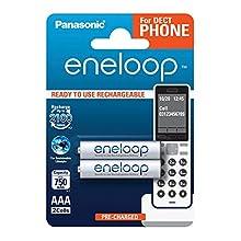Panasonic eneloop, Ready-to-Use Ni-MH Akku, AAA Micro, 2er Pack für Schnurlostelefone (DECT), min. 750 mAh, 2100 Ladezyklen, starke Leistung und geringe Selbstentladung, wiederaufladbare Akku Batterie