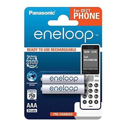 Panasonic eneloop, Ready-to-Use Ni-MH Akku, AAA Micro, 2er Pack, min. 750 mAh, 2100 Ladezyklen, geringe Selbstentladung, für Schnurlostelefone (DECT), wiederaufladbare Akku Batterie, Akkubatterie