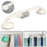 #6: KM Bathroom/Kitchen 5 Sliding Hook Suction Strip, Max Load 2 Kg. (works best on tiles and glass surface)