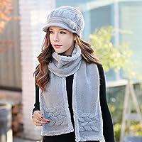 39879b58d1101 Yukun Gorro de lana Sombrero Mujer Otoño Invierno Gorra Boina Salvaje  Grueso Cálido Tejido De Algodón