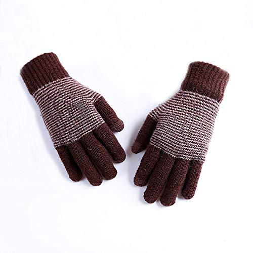 JTWJ Dicke Kaschmir Handschuhe doppelte Nadelstreifen Touchscreen warme Finger Handschuhe (Farbe : Braun)