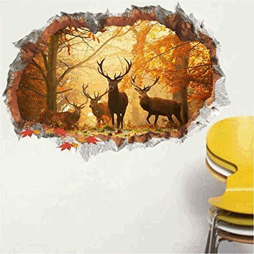 qhtqtt Wandaufkleber Forest Deer 3D Vivi Effekt D Wandtattoos Poster Wohnzimmer Schlafzimmer Wohnkultur Weihnachtsdekoration