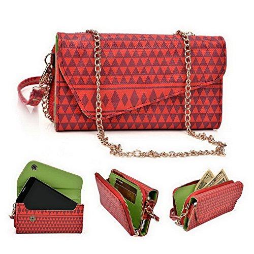 Kroo Pochette/étui style tribal urbain pour LG G4Beat/Bello II Multicolore - Brun Multicolore - rouge