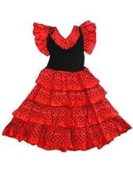 Robe danse flamenco traditionnelle a pois fille rouge Noir