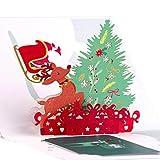 Papier Spiritz Weihnachtskarte Pop Up Karte Satz von 5 Farbe Druck 3D Geburtstagskarte Happy New Year Merry Christmas Card (Groser Weihnachtsbaum)