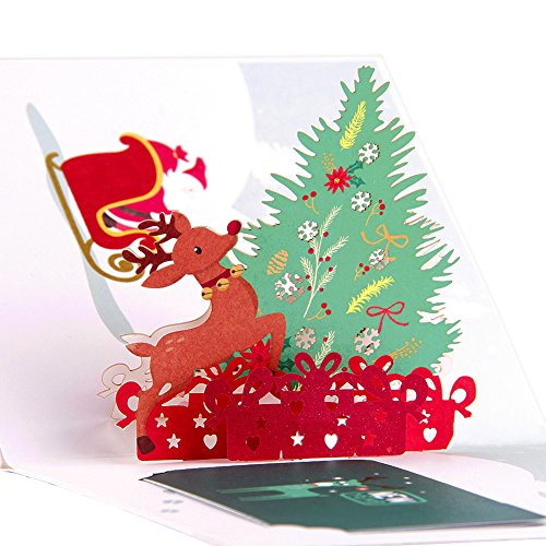 achtskarte Pop Up Karte Satz von 5 Farbe Druck 3D Geburtstagskarte Happy New Year Merry Christmas Card (Groser Weihnachtsbaum) ()
