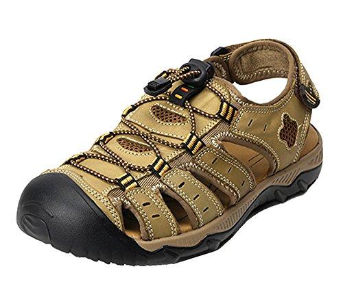Dayiss Herren Jungen Geschlossene Sandalen Leder Trekking-&Wanderschuhe Outdoorschuhe Slingback Schuhe Khaki
