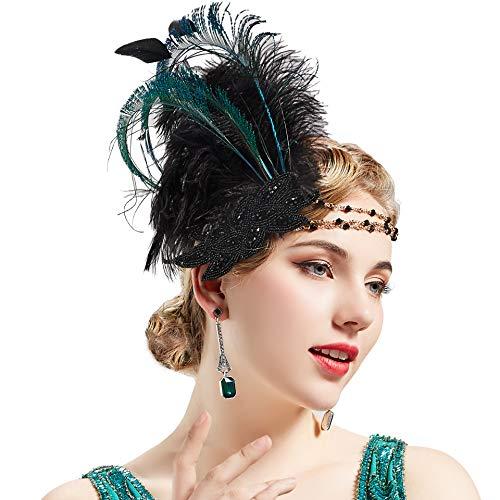 Coucoland 1920s Stirnband Feder Damen 20er Jahre Stil Charleston Haarband Great Gatsby Damen Fasching Kostüm Accessoires (Schwarz) (Kleid 1920 Ideen)