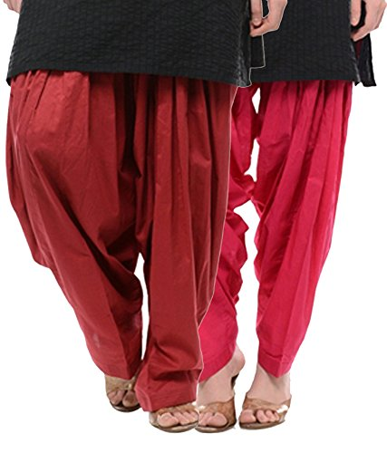 NGT Maroon And Rani Pink Pure Cotton Patialas For Womens