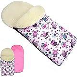 rawstyle Saco de pie de invierno * rosa + búho $1* Saco de pie para bebé por ejemplo maxi-cosi, Römer, Cochecito o Buggy etc. nuevo Saco lana de cordero Búhos