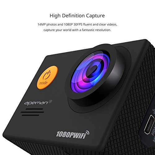 Image of APEMAN Action Camera Underwater Camera Wi-Fi 1080P 14MP Waterproof up to 30m 2.0'' LCD 170°Ultra Wide-Angle Two 1050mAh Batteries with Portable Case and Kit of Accessories
