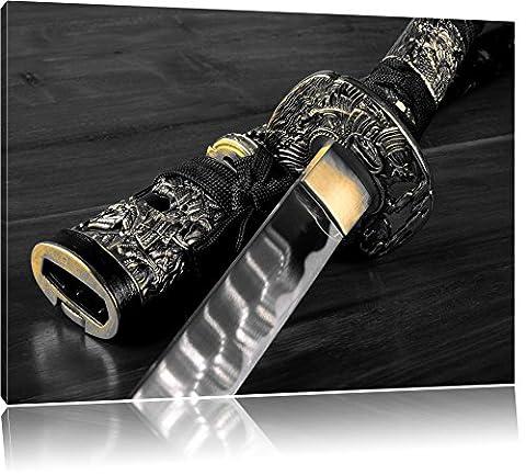 brillante épée de samouraï B & W détail, Taille: 60x40 sur toile, XXL énormes photos complètement encadrée avec civière, imprimé Art mural avec cadre moins cher que la peinture ou la peinture à l'huile, pas poster ou une affiche