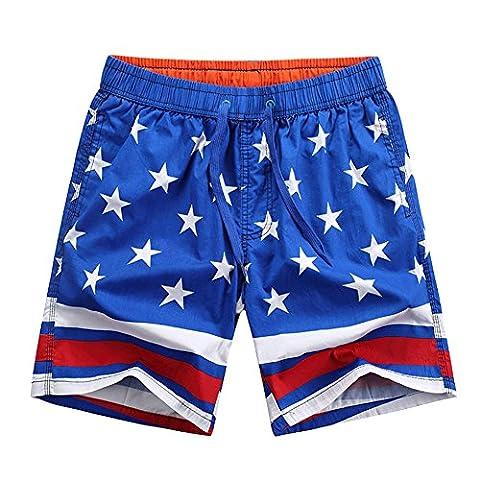 Maillot de Bain Casual Shorts étoiles Imprimer Pantalon Court pour Hommes Bleu XXXL