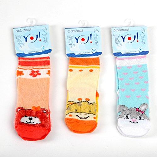 Kindersocken lustige Socken für Mädchen 3-er Set mit Motiv mint gelb SK-13 Gr. L = 23 / 25 (Kinder-socken Giraffe)