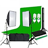 BPS 1250W Pro Photography Continuous Lighting Kit 50 x 70cm soft box kit and Black chromakey Green White Backdrops Softbox Equipment Kit Portable Photo Studio with 2 x 125W 5500K Lamp Bulbs + Free Heavy Duty Carry Bag ( 3m cable, UK plug, E27 Socket )