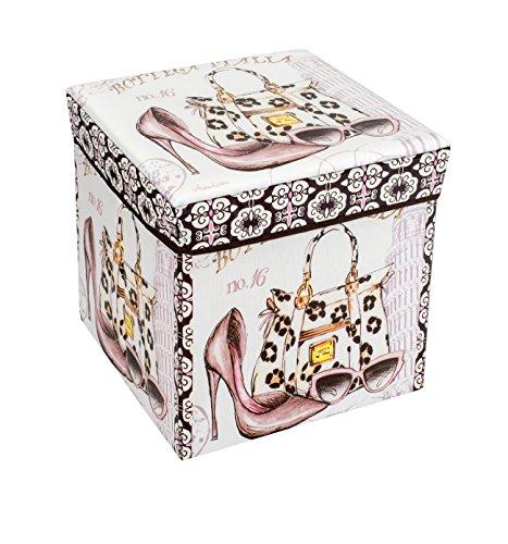 Amazinggirl Sitzhocker mit Stauraum Faltbarer und Moderne Motiv Falthocker ALS Aufbewahrungsbox Sitzwürfel und Deckel (Faschion, 30 x 30 x 30 cm)