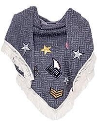 Gadzo Schal mit Patches Fransen quadratisch Halstuch Schal01