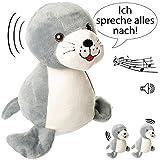 NACH sprechende - Robbe / Seehund -  Ich spreche Alles nach & bewege Mich dazu  - aus Stoff / Plüsch - Plüschtier - mit Sound & Bewegung - spricht & plapper..