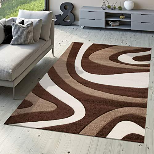 T&t design - tappeto moderno per soggiorno, camera da letto, sala da pranzo, morbido a pelo corto, motivo ondulato, disponibile in diversi colori colori e dimensioni, marrone, 80 x 150 cm