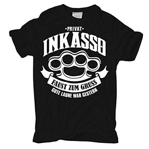 Männer und Herren T-Shirt Privat Inkasso Körperbetont schwarz