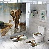 Z&S Tenda da Doccia + Tappeto (Set di 4), Set di tappetini da Bagno Antiscivolo per la casa Moderna Modello Elefante Tailandese 180 * 180 cm,B