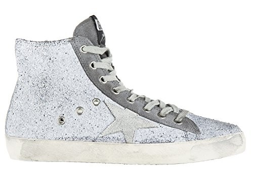 golden-goose-womens-shoes-high-top-leather-trainers-sneakers-francy-grey-uk-size-5-g30ws591-a45
