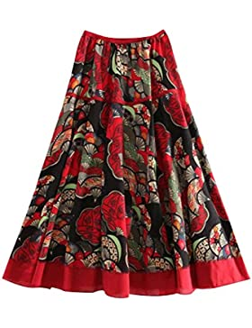 Quge Mujer Falda Plisada Bohemio Estampado Floral A-Line Faldas De Playa Cintura Alta Vestidos