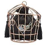 Damen Clutch Bag Persönlichkeit Stickerei Haken Blume Metall Hoop Cage Frauen Catwalk Handtasche Abendtasche Braut Hochzeit Prom Party Tasche Geldbörse Geschenk,Brown