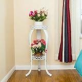 MEILING Soporte de flores de hierro europeo de varias capas de la sala de estar interior y al aire libre verde maceta de la olla gruesas bastidores verdes ( Color : Blanco )