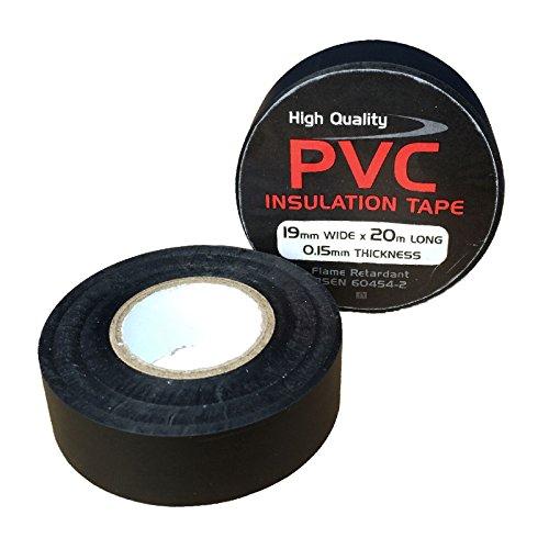 3 x Nero Elettrico PVC Isolamento Nastro 19mm x 20 Metri, Ritardante di Fiamma - 3 Metri Nastro Isolante Elettrico