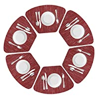 Drasawee Round Table Placemats Set of 6 Wedge Washable Table mats for Kitchen Table,Heat Resistant Round Table (Wine Red, Set of 6)